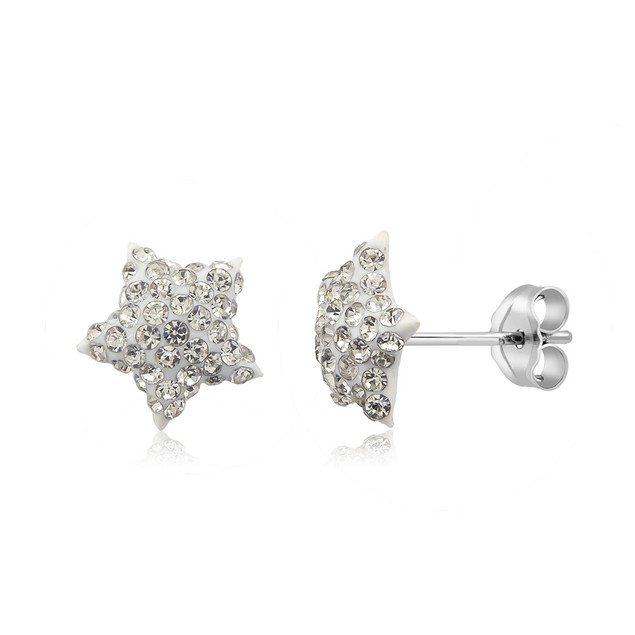 Sterling Silver Sparkling Crystal 10mm Stud Earrings - Star White