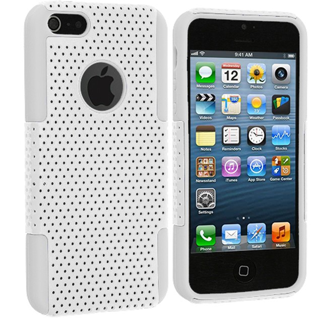 Apple iPhone 5 Hybrid Mesh Hard Soft Silicone Case Cover