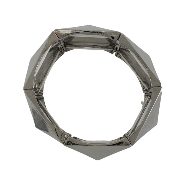 Gunmetal Finish Pyramid Stud Link Stretch Bracelet Womens Stretch Bracelets