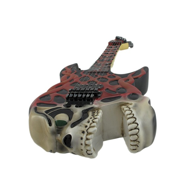 Screaming Skull Electric Guitar Coin Bank Piggy Toy Banks