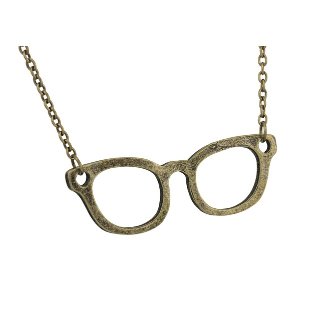 Burnished Gold Glasses Necklace 30 In. Chain Chain Necklaces