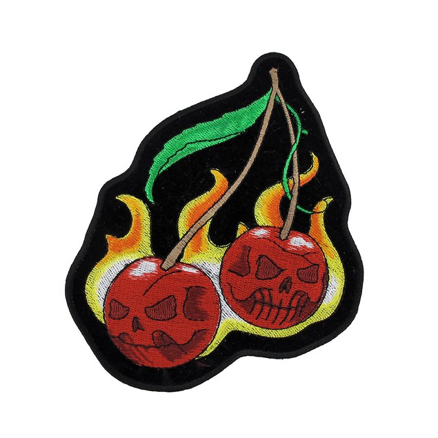 Wild Cherries Flaming Cherry Motorcycle Patch Applique Patches