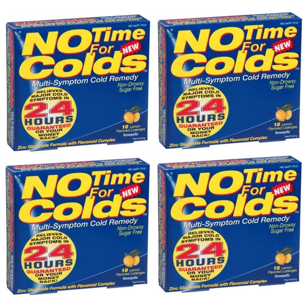 4-Pack 18ct No Time For Colds Multi-Symptom Cold Remedy Lozenges - Lemon