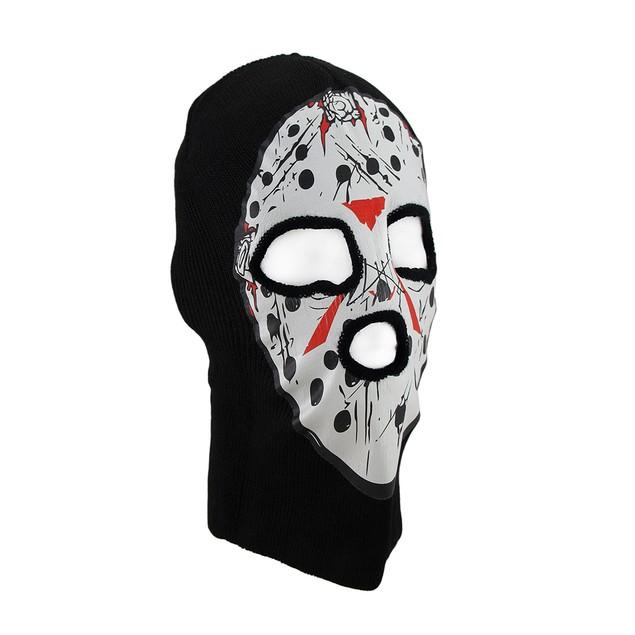 Black / White Seral Killer Hockey Mask Knit Ski Mens Costume Masks