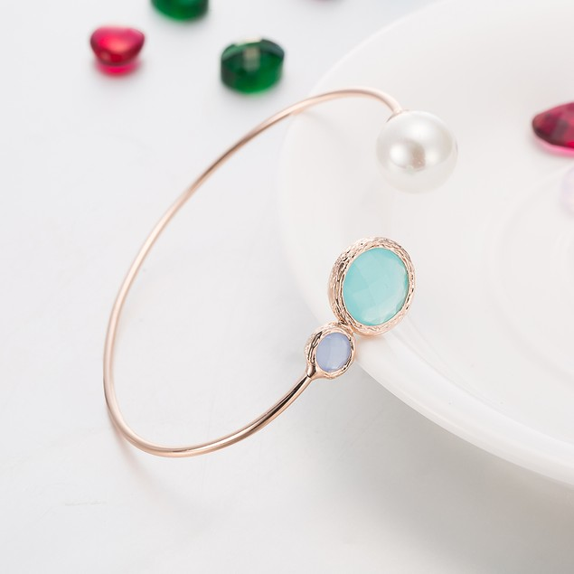 Rose Gold Plated Turquoise & Pearl Open Ended Bangle