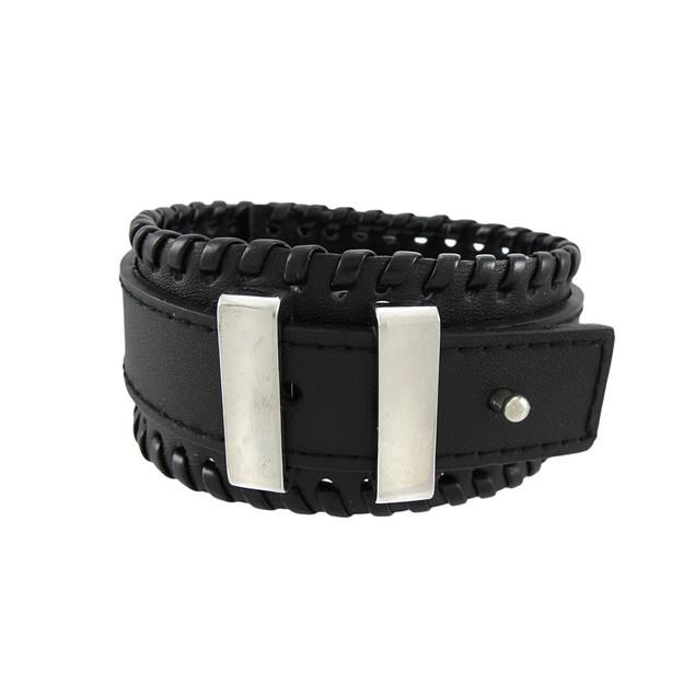 Black Leather Wristband W/ Polished Chrome Bars Mens Leather Bracelets
