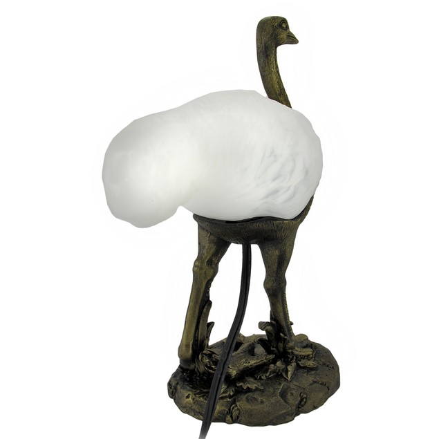 Ostrich Lamp With Frosted Glass Globe Indoor Figurine Lamps