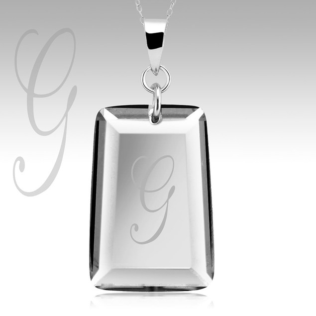 Sterling Silver Initial Crystal Drop Necklace
