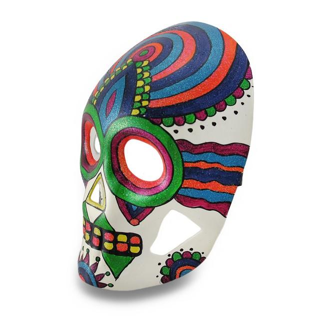 Colorful Sparkling Rainbow Striped Dod Sugar Skull Mens Costume Masks