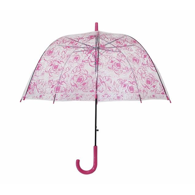Clear Plastic Hot Pink Floral Print Umbrella 40 Umbrellas
