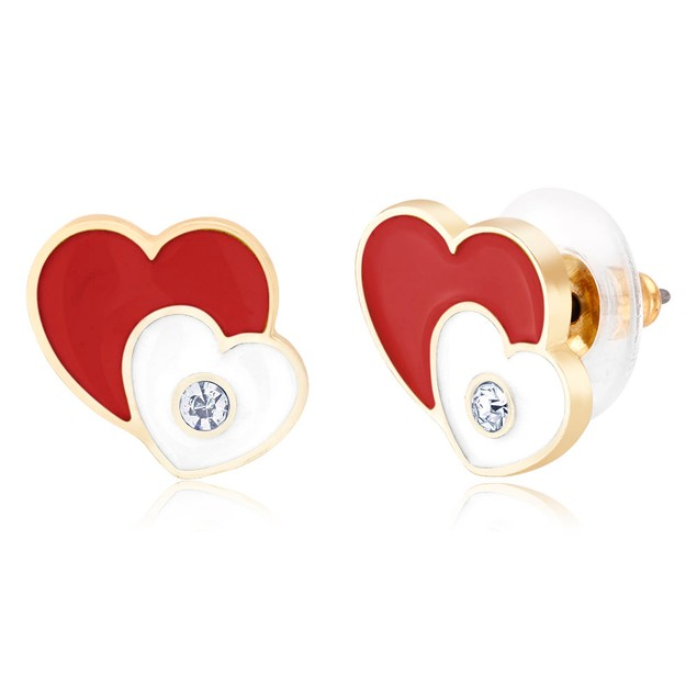 Enamel Heart Stud Earrings - 4 Colors