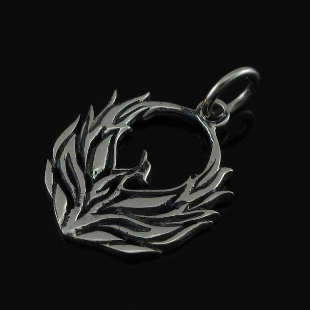 Sterling Silver Fiery Phoenix Pendant Charm Womens Pendants