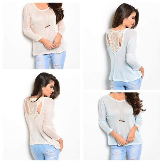 Long Sleeve Shirt with Crochet Detail - 2 Colors