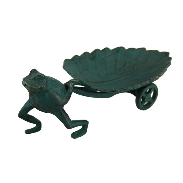 The Long Haul Frog Pulling Leaf Cart Decorative Statues