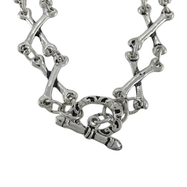 Chrome Plated Skull And Crossbones Link Bracelet Mens Chain Bracelets