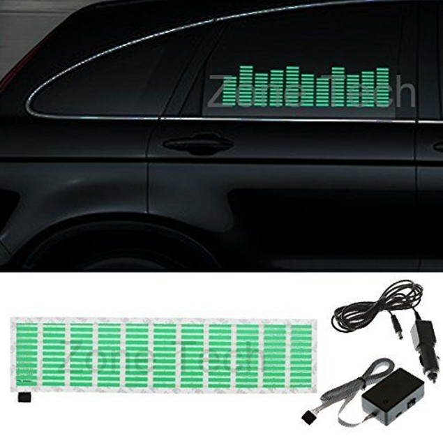 Zone Tech Green Music Beat Activated Car Sticker Equalizer Glow LED