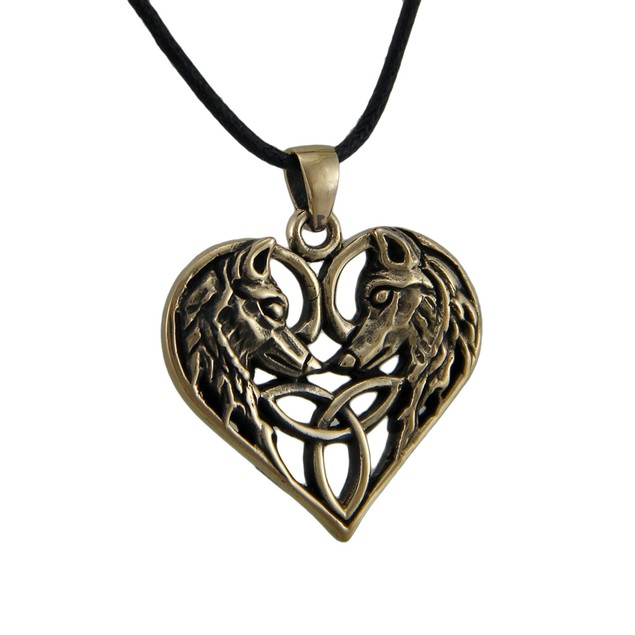 Celtic Weave Heart Wolf Lovers Bronze Finish Womens Pendant Necklaces
