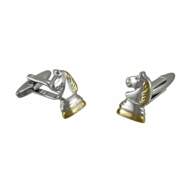 Polished Chrome Knight Piece Chess Cufflinks Mens Cuff Links