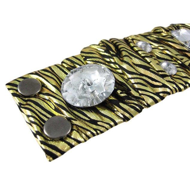 Metallic Gold Zebra Print Fabric Crystal Wristband Womens Cuff Bracelets