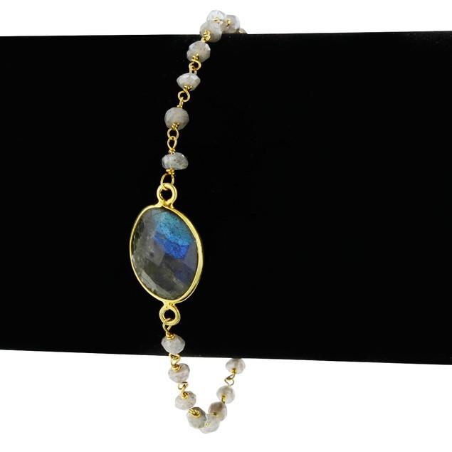 Gold Tone Sterling Silver 6 Carat Labradorite Bracelet