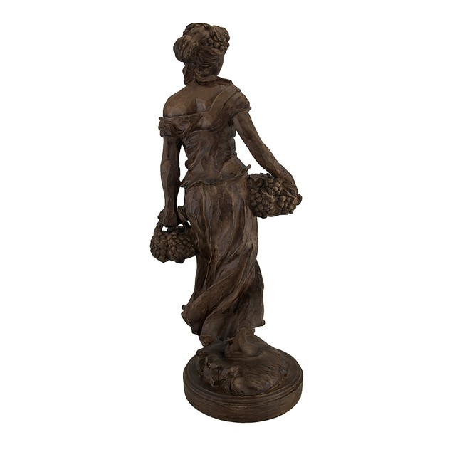 Fresh Harvest Maiden Carrying Baskets Rustic Wood Statues