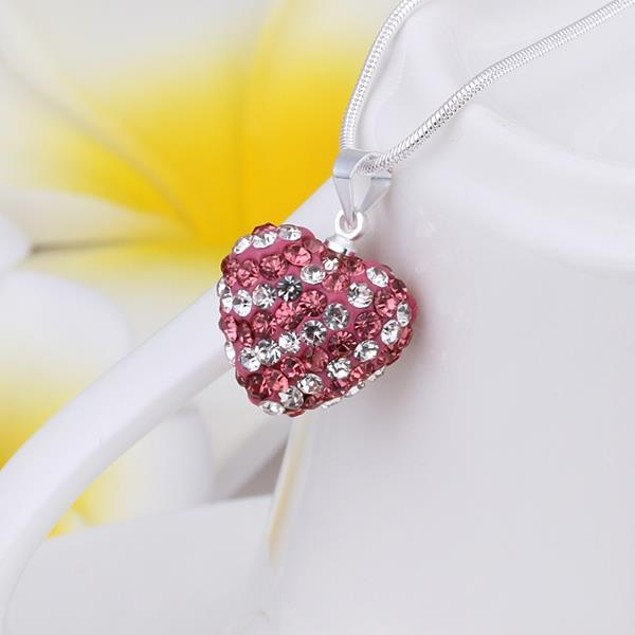 Multi-Toned Austrian Stone Heart Shaped Necklace - Pink Topaz