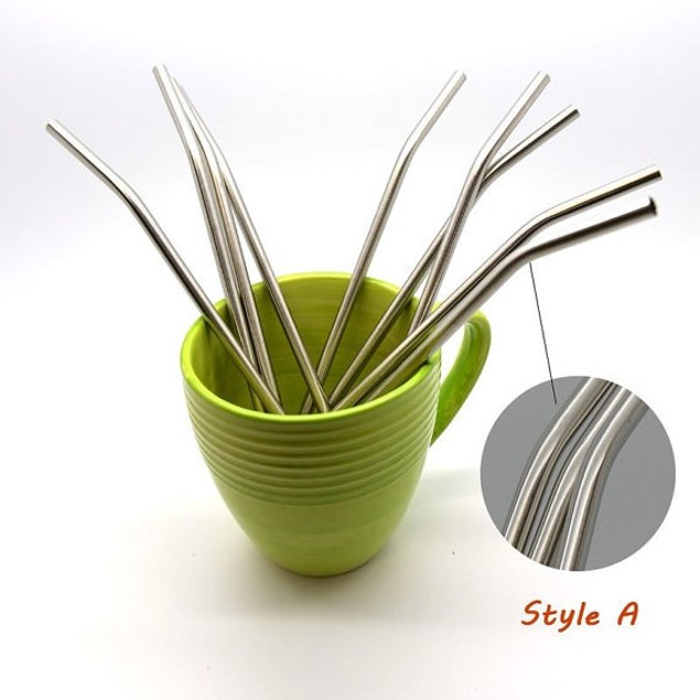 Curved Stainless Steel Drinking Straws - 10ct