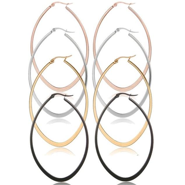 4-Pack: Oval Hoop Earrings in 4 Colors