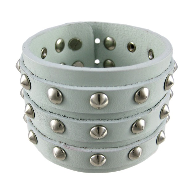 Gray Leather 3 Row Cone Spiked Wristband Mens Leather Bracelets