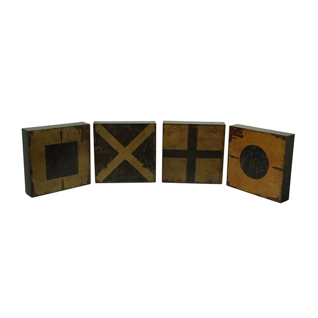 4 Pc. Nautical Flag Markers Decorative Wood Wall Decorative Plaques