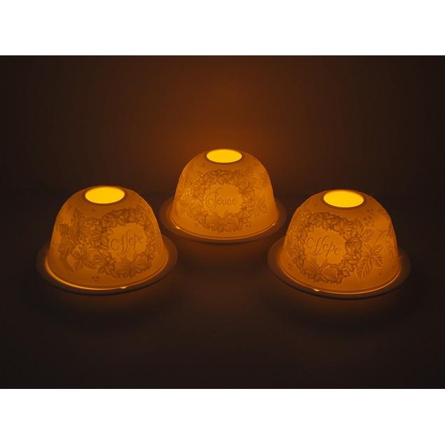 Set Of 3 Hope Peace And Holly White Porcelain Tea Light Holders