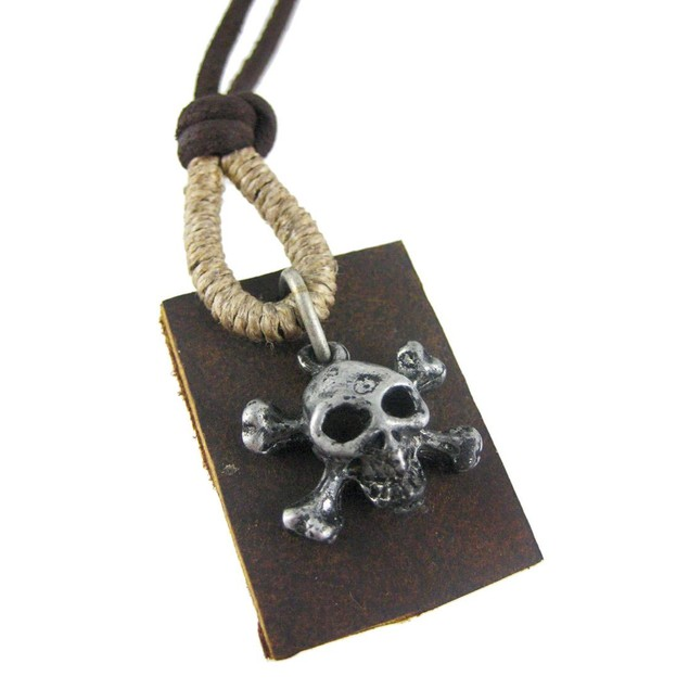 Skull & Crossbones Pendant W/ Leather Cord Mens Pendant Necklaces