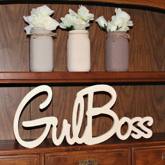 Unfinished Girl Boss Wood Sign