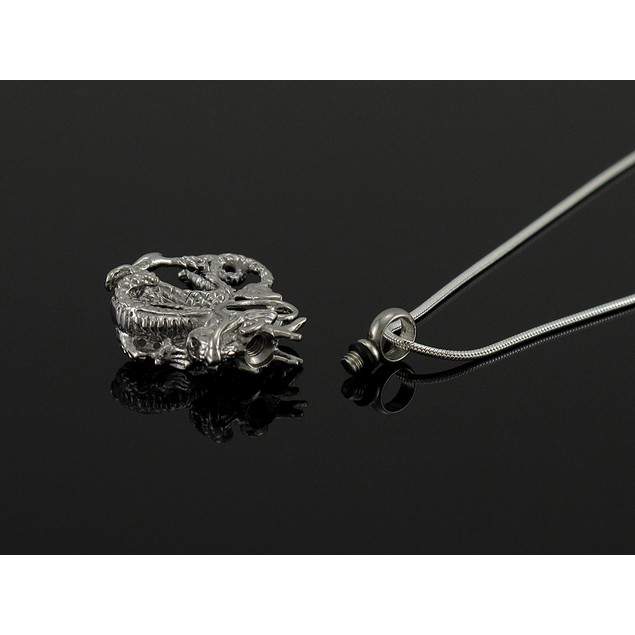 Stainless Steel 3D Dragon Keepsake Memorial Vial Womens Pendant Necklaces