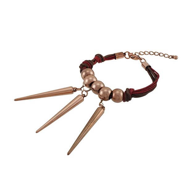 Waxed Cord Bracelet With Copper Colored Beads And Womens Cord Bracelets