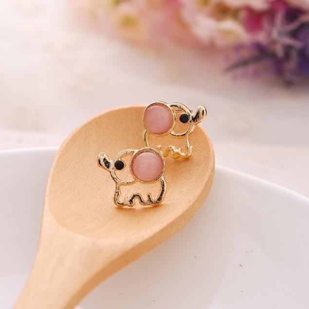 Gold Tone Elephant Shaped Earrings