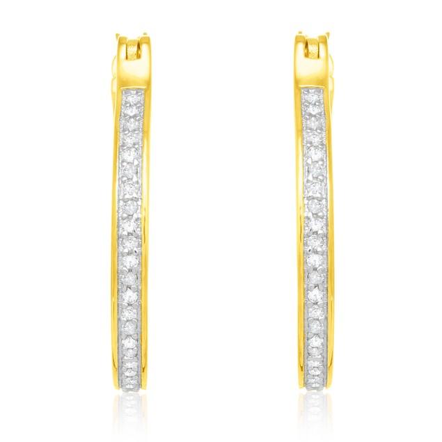 Gold Tone Sterling Silver 1/4ct Diamond Hoop Earrings