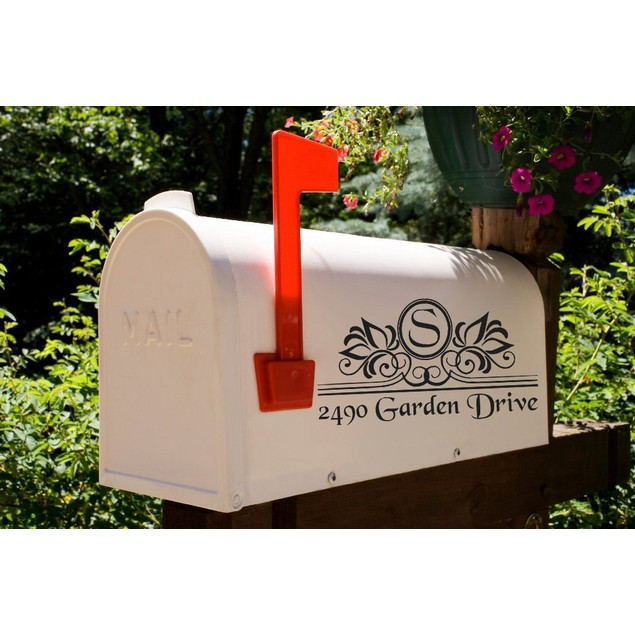 Flourish Leaf Initial Mailbox Address Decal