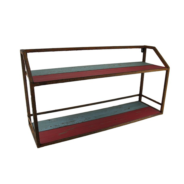 Vintage Finish Wood & Metal Display Stand/Wall Hanging Shelves