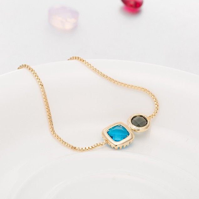Gold Plated Duo Turquoise & Citrine Gem Bracelet