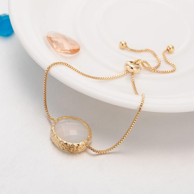 Gold Plated Coral Pink Gem Bracelet