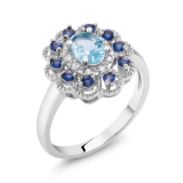 Blue Cubic Zirconia Fashion Ring