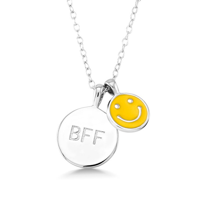 Sterling Silver BFF Smiley Necklace