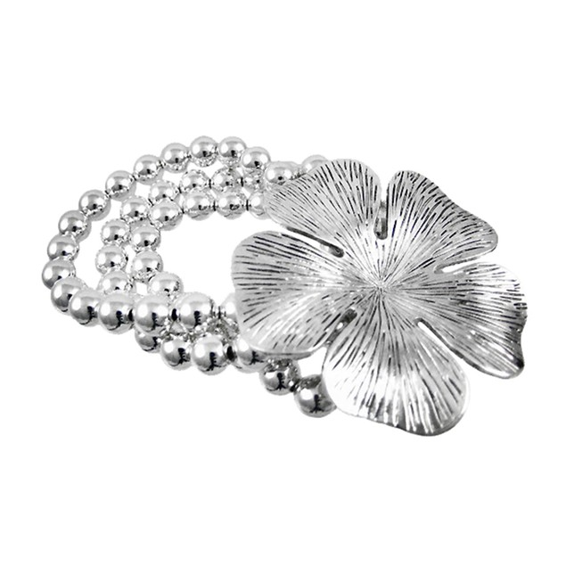 Chrome Hibiscus Flower Silver Bead Stretch Womens Stretch Bracelets