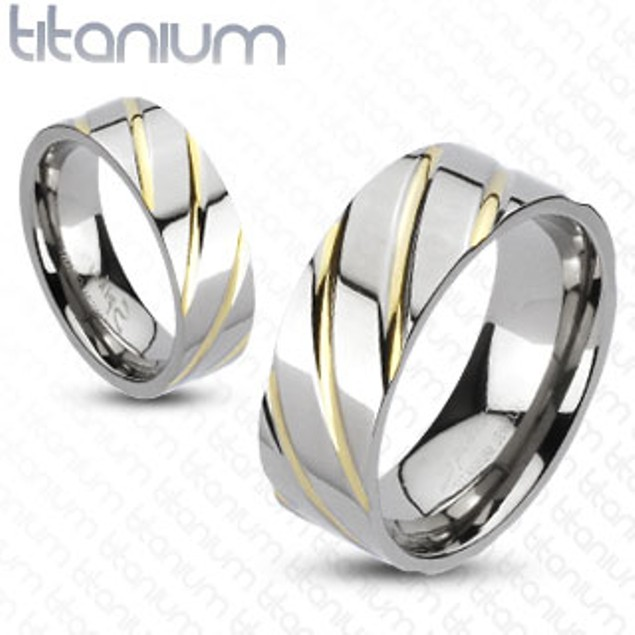 Diagonal Multi-Groove Gold IP Band Ring Solid Titanium