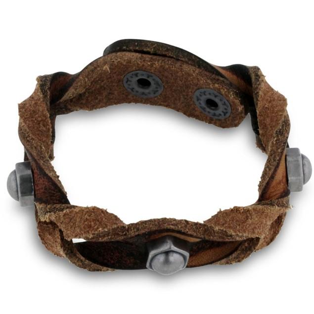 Octavius Studded Braided Brown Bracelet