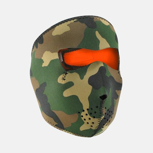 Neoprene Woodland Camo Reversible to High Vis Orange Full Face Mask