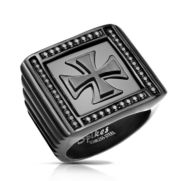 Men's Black Stainless Steel Maltese Cross Ring