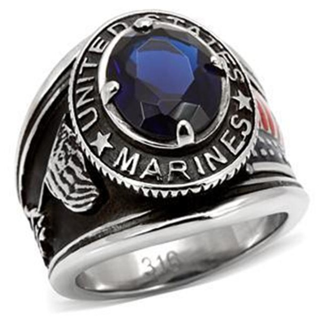 "Men's Black Stainless Steel ""United States Marines"" Sapphire Blue Ring"