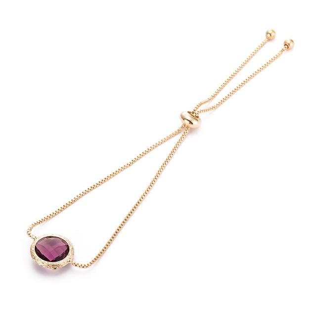 Gold Plated Circular Lavender Gem Bracelet